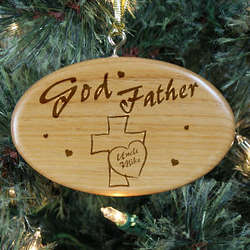Personalized Godfather Wooden Oval Ornament