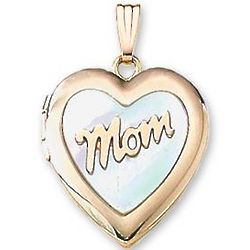 Mom Mother of Pearl 14k Gold Heart Locket