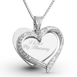 Sterling CZ Twisted Heart Necklace