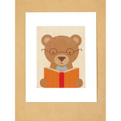 Matted Story Bear Print on Wood