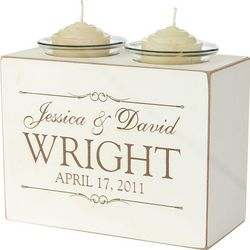 Personalized Name Design Wedding Candle Holder Block