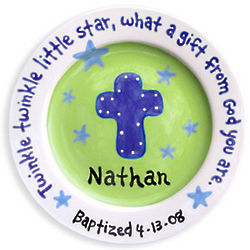 Boy's Personalized Baptism Keepsake Plate