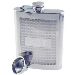 Engraved Square Pattern Hip Flask
