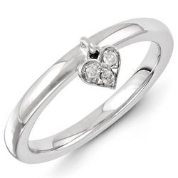 Sterling Silver Diamond Heart Dangle Stack Ring