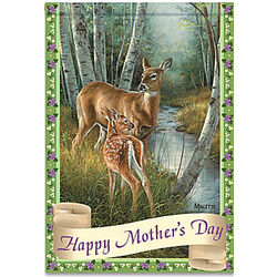 Happy Mother's Day Flag with Doe and Fawn
