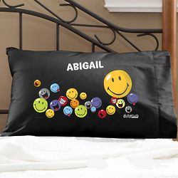 Personalized Smiley Face Black Pillowcase