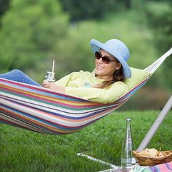 Pastel Stripe Canvas Hammock with Carrying Bag