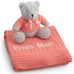 Melon Knit Blanket and Bear Set