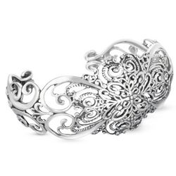 Brilliance Sterling Silver Heart Cuff Bracelet