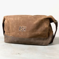 Personalized St. Christopher Waxed Canvas Dopp Kit