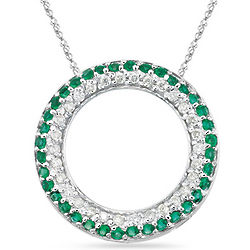 Diamond and Emerald Circle Pendant in 14K White Gold