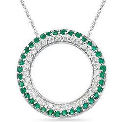 Diamond and Emerald Circle Pendant in 14K White Gold