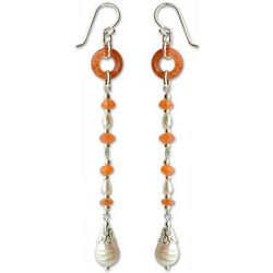 Sunlight on Pearls Jade and Agate Drop Earrings