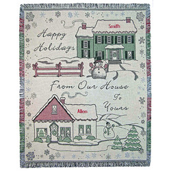 Personalized Happy Holidays Throw