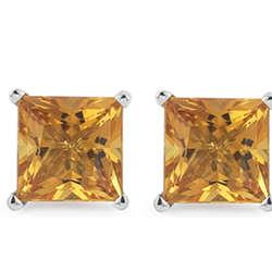 Citrine Stud Earrings in 14K White Gold