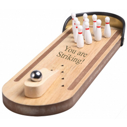 Wood Tabletop Bowling Ball and 10 Pin Game Set