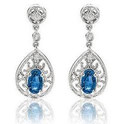 14K White Gold Blue Sapphire Diamond Drop Earrings