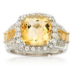 Citrine Ring with White Topaz and Diamond Accents in Silver
