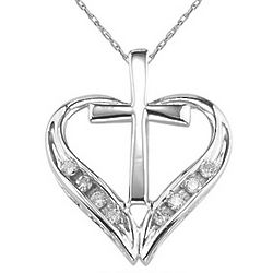 14K White Gold Cross and Heart Diamond Pendant