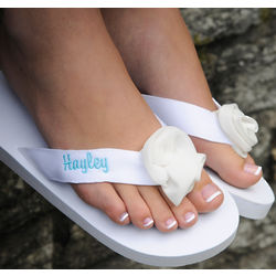 Personalized White Flip-Flops