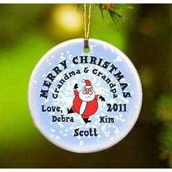 Santa Round Snow Ornament
