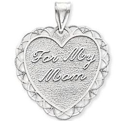 For My Mom 14k White Gold Lace Border Heart Pendant