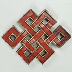 Painted Wooden Tibetan Knot