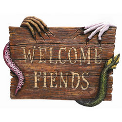 Welcome Fiends Creepy Plaque