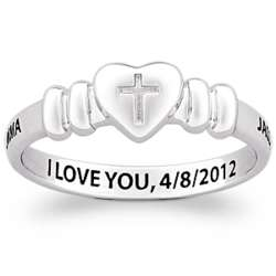 Sterling Silver Couple's Heart and Cross Message Ring