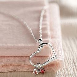 Silver Two-Stone Heart Birthstone Necklace
