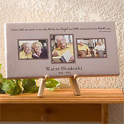 Personalized Wonderful Life Memorial 3 Photo Taupe Canvas