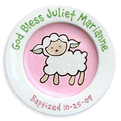 Loveable Lamb Personalized Girl Baptism Plate