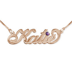 Rose Gold Carrie-Style Swarovski Name Necklace