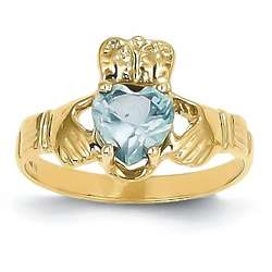 14K Gold March Birthstone Irish Claddagh Ring