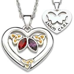 Couple's Birthstone Celtic Heart Anam Cara Pendant