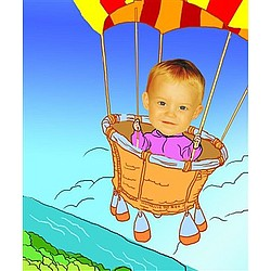 Your Photo in a Hot Air Balloon Caricature
