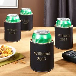 4 Custom Charcoal Faux Leather Beer Koozies