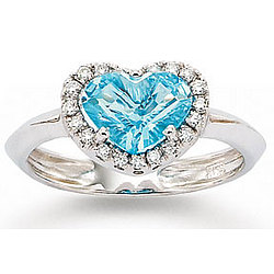 14k White Gold Blue Topaz Heart and Diamond Ring