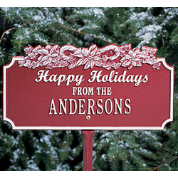 Personalized Happy Holidays Plaque with Candy Canes