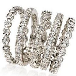 Set of Five CZ Eternity Bands in Sterling Silver