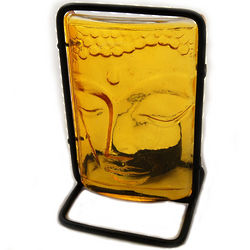 Colored Glass Buddha Candle Holder