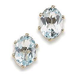 Oval Blue Topaz Stud Earrings
