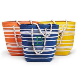 Personalized Striped Cotton Tote Bag