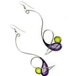 Purple Green Orbit Modernist Earrings