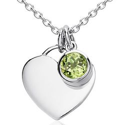Peridot Birthstone Heart Pendant in Sterling Silver