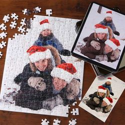 Personalized Vertical Holiday Photo 252-Piece Puzzle and Tin