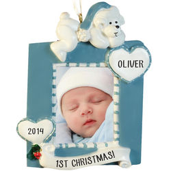 Baby Boy's First Christmas Blue Photo Frame Ornament