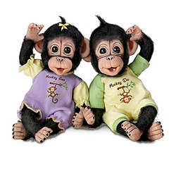 Monkey See Monkey Do Poseable Baby Monkey Doll Set