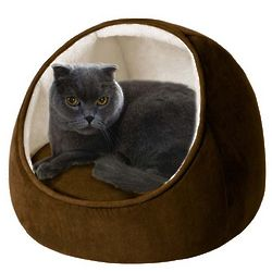 Brown/Ivory Hooded Snuggler Cat Bed with Cushion