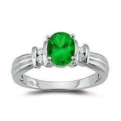 Diamond and Emerald Ring in 14K White Gold